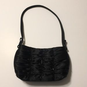 Black satin prom purse with ruching and beading